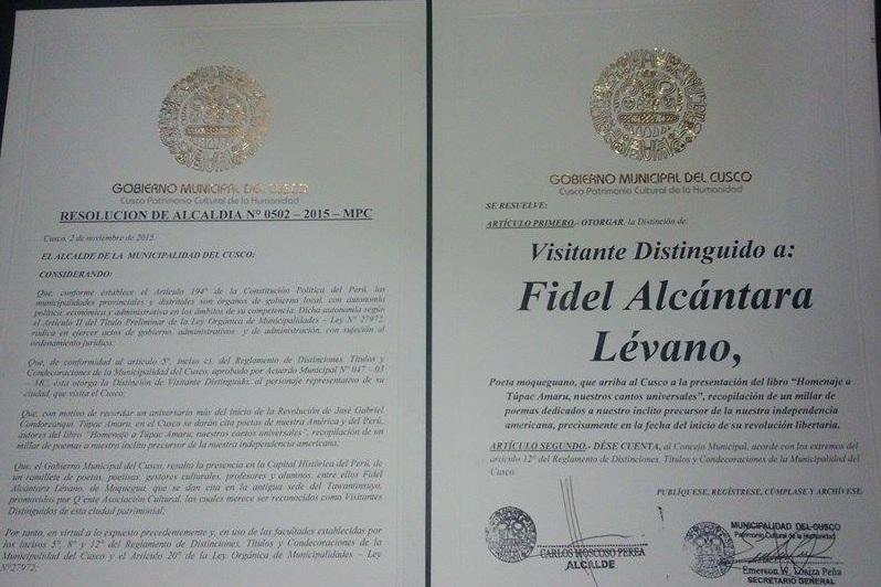 DECLARAN VISITANTE ILUSTRE Y DISTINGUIDO EN TINTA Y CUSCO A FIDEL ALCÁNTARA LÉVANO POR SU LABOR LITERARIA.